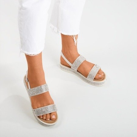 Arella silver women's sandals with zircons - Footwear 1