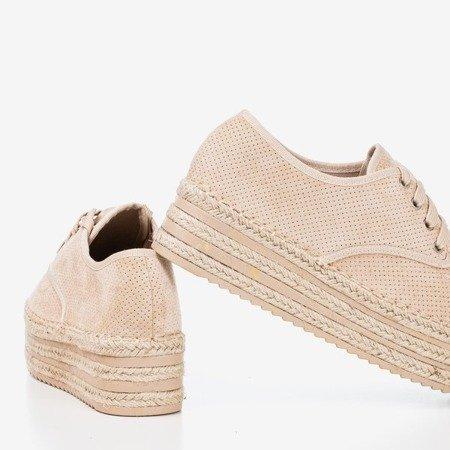 Beige openwork shoes on the Harness platform - Footwear 1