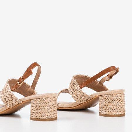 Beige sandals on a low post Riota - Footwear 1