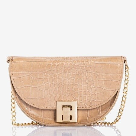 Beige small kidney bag with a snake skin embroidery - Handbags 1