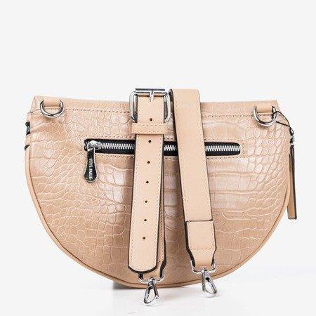 Beige small kidney bag with animal embossing - Handbags 1