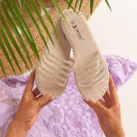 Beige transparent flip-flops with Zircons Noumeia - Footwear 1