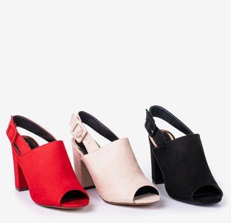 Beige women's sandals on a Flower Hill post - Footwear