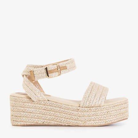 Beige women's sandals on the Marisa platform - Footwear