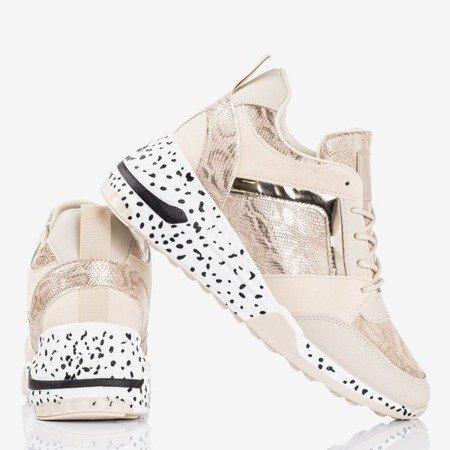 Beige women's sports sneakers on the wedge Acanta - Footwear 1