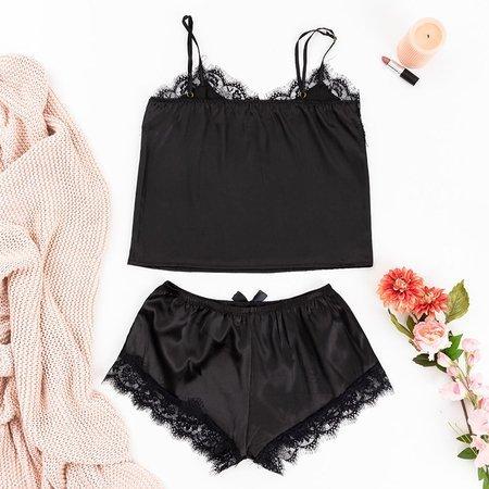 Black Women's Pajamas with Lace - Clothing
