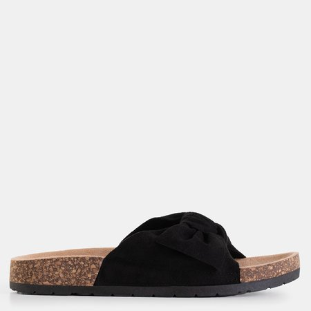 Black Women's Slippers with Sun and Fun Bow - Footwear