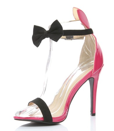 Black and pink sandals with a Kokerdene bow - Footwear