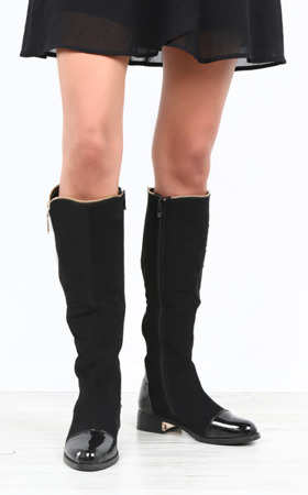 Black boots with varnished toe Mimi - Footwear