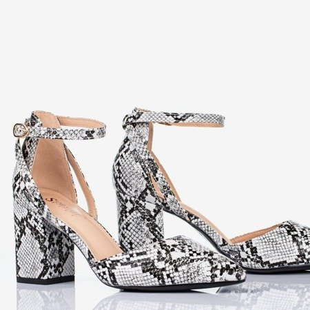 Black cut-out pumps on the post a'la snake skin Party Time - Footwear 1