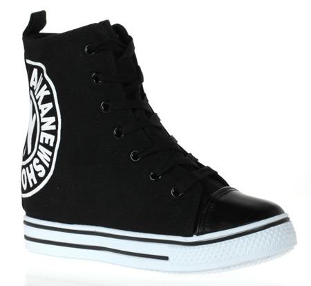 Black, fabric wedge sneakers - Footwear 1