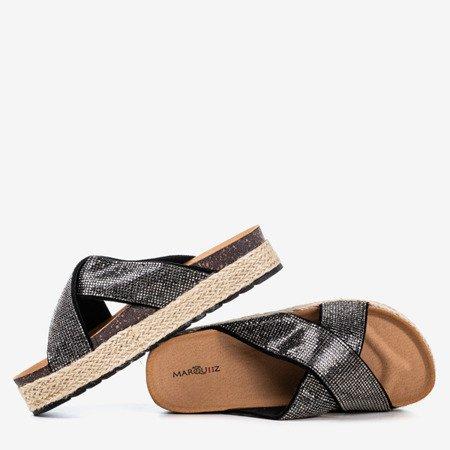 Black flip-flops on the platform with zircons Zarina - Footwear 1