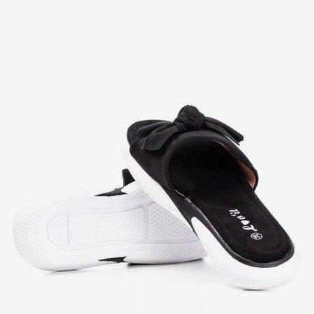 Black flip flops with bow Semuala - Footwear 1