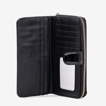 Black lacquered women's wallet - Wallet