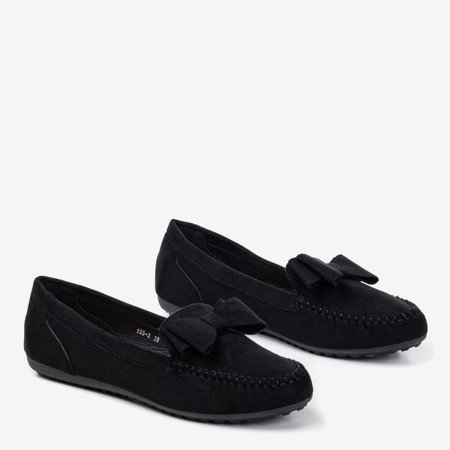 Black loafers for women with Ursula bow - Footwear 1