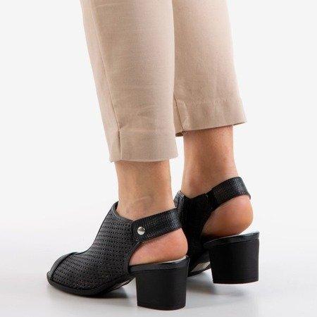 Black openwork sandals on the Katina post - Footwear 1