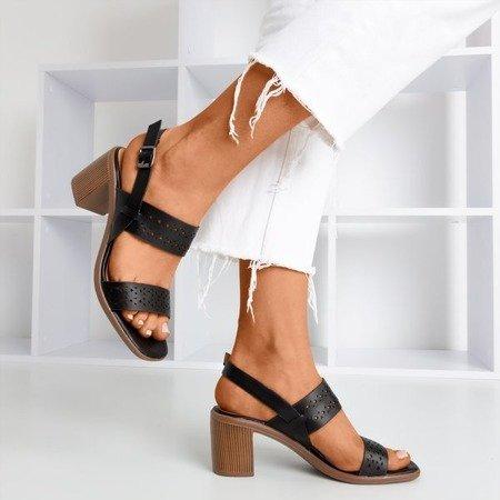 Black openwork sandals on the taller post Mandorianna - Footwear