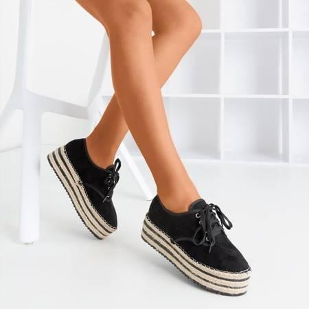 Black openwork shoes on the Harness platform - Footwear