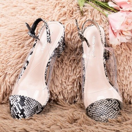 Black pumps on a low post a'la snake skin Evoria - Footwear