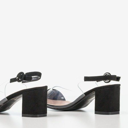 Black pumps on the post with a transparent Evora insert - Footwear 1