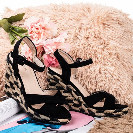 Black sandals on the wedge Porciss - Footwear 1