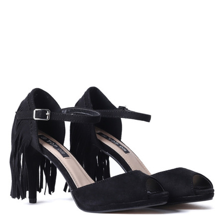 Black sandals with fringed Fredineas - Shoes 1