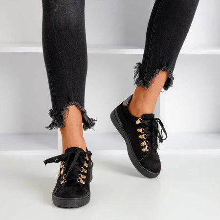 Black sneakers decorated with Jurid pearls - Footwear 1