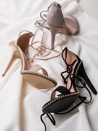 Black tied sandals on a high heel Taya - Footwear