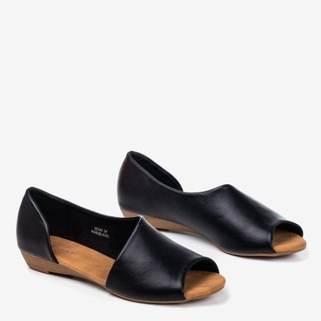 Black women's sandals on a low wedge Irynis - Footwear 1