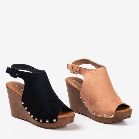 Black women's sandals on wedge Izida - Footwear 1