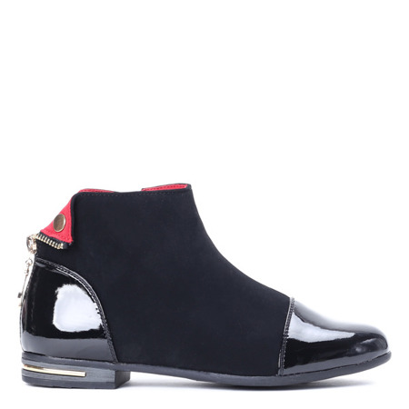 Black women's Chelsea boots with a varnished toe cap - Shoes