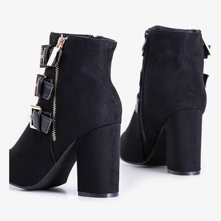 Black women's ankle boots with  buckles Lardiano - Shoes