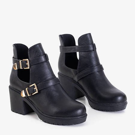 Black women's ankle boots with cut-outs from Afinka - Footwear