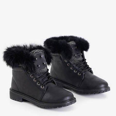 Black women's boots with fur Zendalia - Footwear