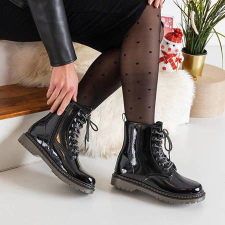 Black women's lacquered boots Lesita - Footwear