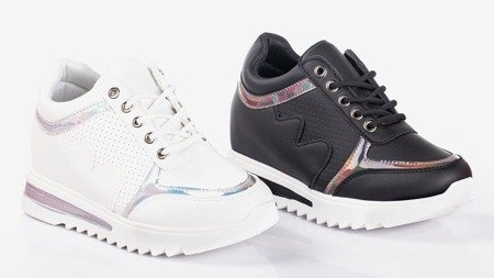 Black women's sneakers on the Wink Wink indoor wedge - Footwear 1