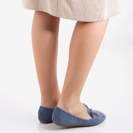 Blue loafers with a bow Petronella - Footwear 1