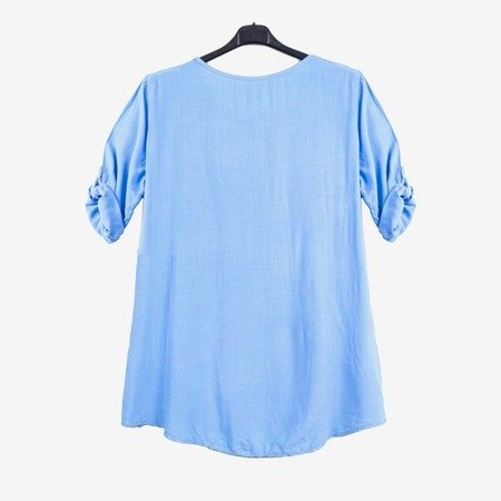 Blue women's tunic with print and inscriptions - Blouses 1