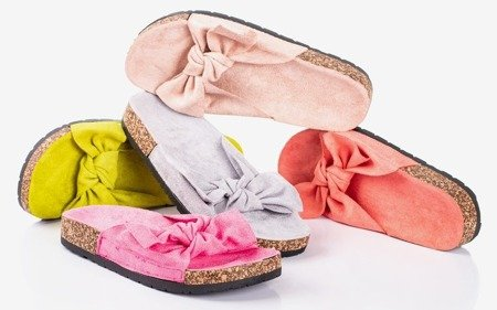 Blue women's slippers with a Sun and Fun bow - Footwear