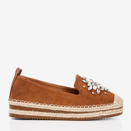 Brown espadrilles on a platform with crystals Mraque - Footwear 1
