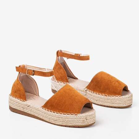 Brown espadrilles with a cut-out on the Narilina platform - Footwear 1