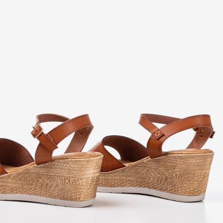 Brown openwork wedge sandals Amandina - Footwear