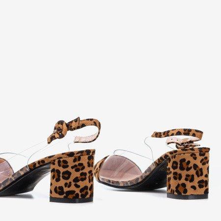 Brown pumps on the post a la panther Evora - Shoes