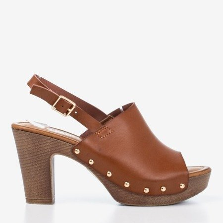 Brown sandals on a higher Madella post - Footwear 1