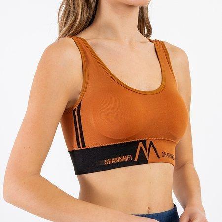 Brown sports bra with inscriptions - Underwear