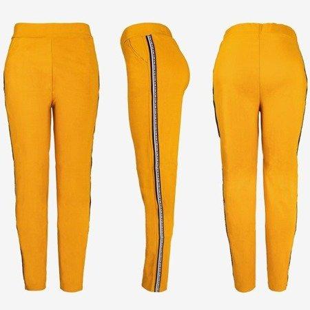 Brown women's sweatpants with stripes - Pants 1