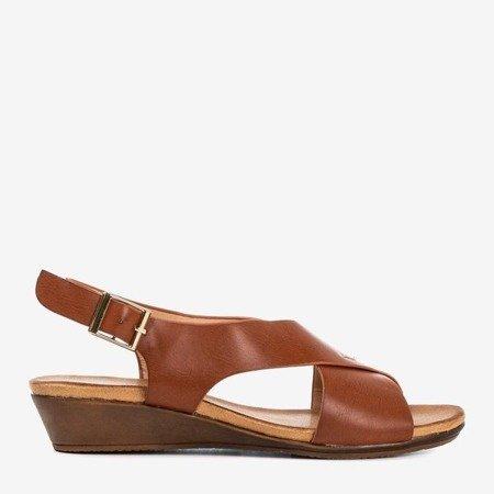 Brown women's sandals on a low wedge Jaliga - Footwear