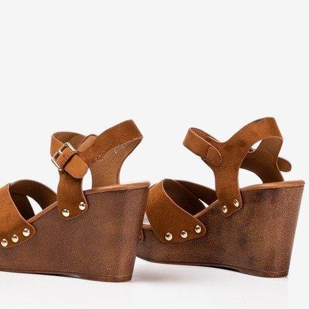 Brown women's sandals on a wedge Susannah - Footwear 1