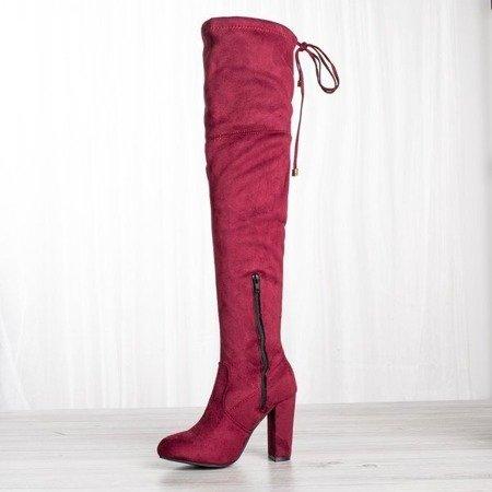 Burgundy boots on the post Keysha - Footwear 1
