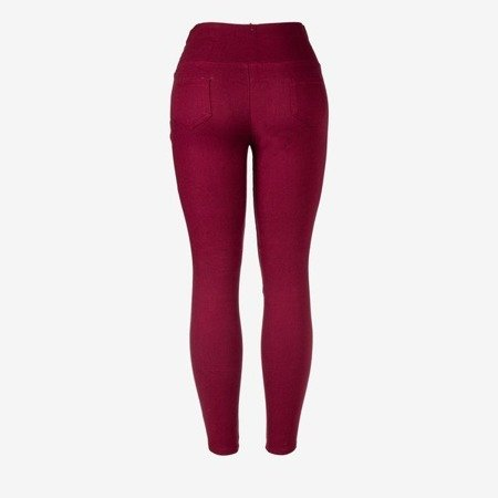 Burgundy women's trousers with tied treggins - Trousers 1